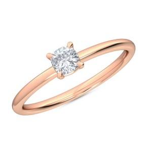 0.25 Ct Cushion Cut Petite Lab Grown Diamond Ring in 14K Rose Gold