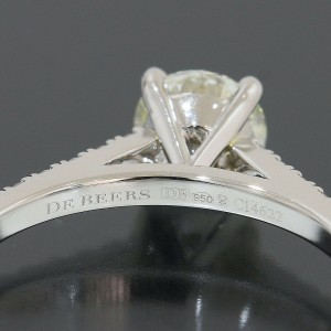 De Beers Solitaire Diamond 0.56ct Ring Platinum 950 US4.75 w/Box,Cert
