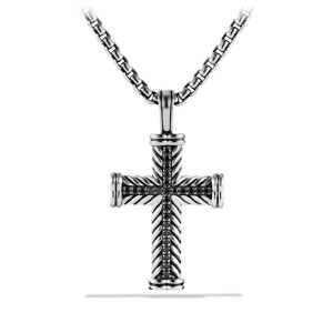 David Yurman Chevron Cross with Black Diamonds