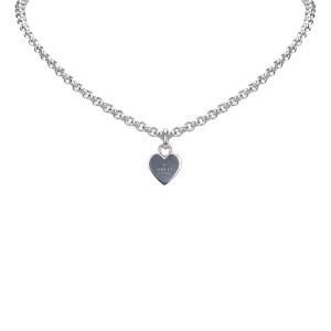Gucci Silver Tone Hardware Heart Pendant Necklace