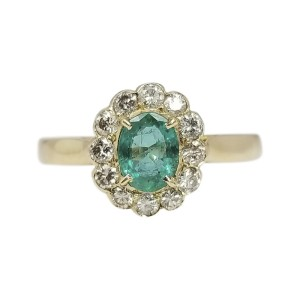18K Yellow Gold 0.95ct Green Emerald and 0.48ctw. Diamonds Engagement Ring Size 6.5