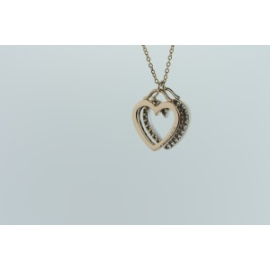 Tiffany & Co. Rose Gold & Double Open Heart Diamond Necklace