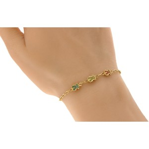 Tous 18K Yellew Gold & Enamel Bear Sweet Dolls Bracelet