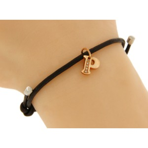 """Damiani 18K Rose Gold & Leather with Silver Diamond Letter """"P"""" Charm Bracelet"""