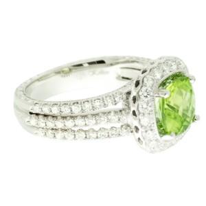 Jack Kelege 18k White Gold Peridot .92ctw Diamond Ring Size 6.25