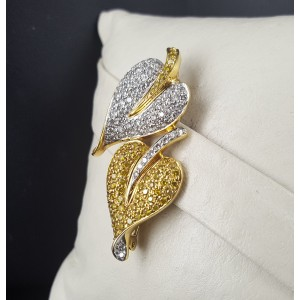 18K White & Yellow Gold 1.69ct. Diamond Hearts Pin Brooch