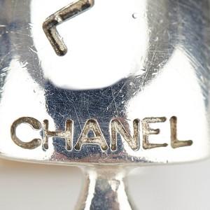 Chanel Silver Tone Metal Logo Ciip On Earrings