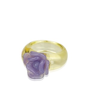 Chanel Camellia Glass Ring Size 6.5