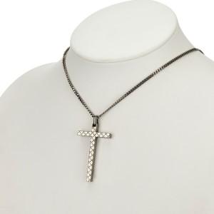 Gucci Sterling Silver Diamante Cross Necklace