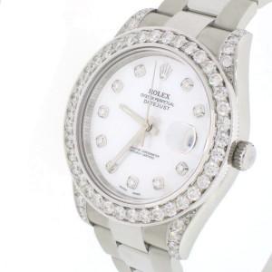 Rolex Datejust II 41mm Steel Oyster Watch White MOP Diamond Dial & Bezel Box & Papers