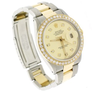 Rolex Datejust 2-Tone 18K Gold/SS 36mm Automatic Oyster Watch w/Champagne Diamond Dial & Bezel