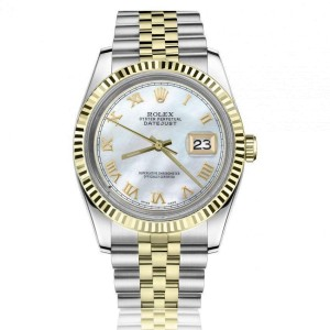 Rolex 36mm Datejust White Mother Of Pearl Dial with Roman Numerals Two Tone Jubilee Watch