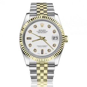 Rolex Oyster Perpetual Datejust 36mm White Dial with Diamond Markers Jubilee Two Tone Band