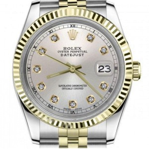 Rolex 36mm Datejust Classic Silver Diamond Dial Fluted Bezel 2 Tone Automatic Watch
