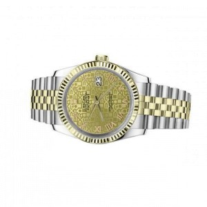 Rolex Oyster Perpetual Datejust 36mm Discreet Jubilee Design Champagne Dial with Roman Numerals