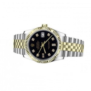 Rolex Oyster Perpetual Datejust 36mm Black Dial with Diamond Numbers Jubilee Two Tone Watch