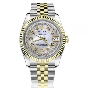 Rolex 36mm Datejust White Mother Of Pearl String Diamond Dial Two Tone Jubilee Watch