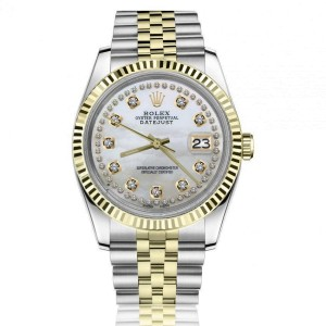 Rolex Oyster Perpetual Datejust White Mother of Pearl with Two Row Diamond Dial 36mm Automatic Watch