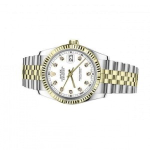 Rolex 36mm Datejust White Diamond Dial Fluted Bezel Two Tone Jubilee Deployment Buckle