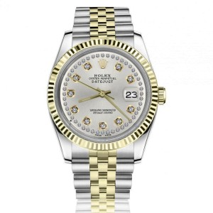 Rolex Oyster Perpetual Datejust Silver Diamond Dial Fluted Bezel Two Tone 36mm Watch