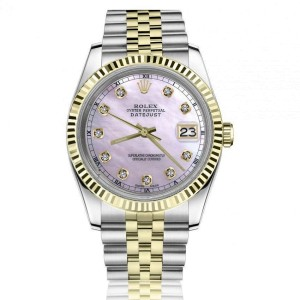 Rolex 36mm Datejust Pink Mother Of Pearl Dial with Diamond Accent Two Tone Watch