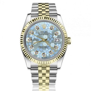Rolex Datejust 36mm Two Tone Jubilee Watch Ice Blue Flower Dial with Diamond Numbers