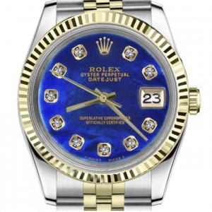 Rolex 36mm Datejust Blue Mother Of Pearl Diamond Dial Two Tone Jubilee Deployment Buckle