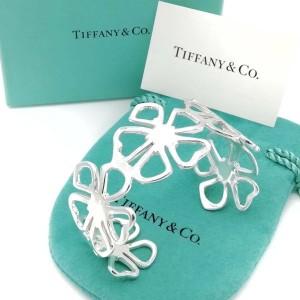 TIFFANY & Co. silver wide cuff flower bracelet
