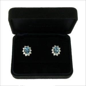 Tiffany & Co. 950 Platinum Aquamarines & Diamonds Stud Earrings