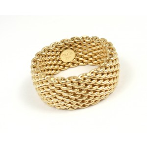 Tiffany & Co. 18K Yellow Gold Somerset Mesh Band Ring Size 8.5