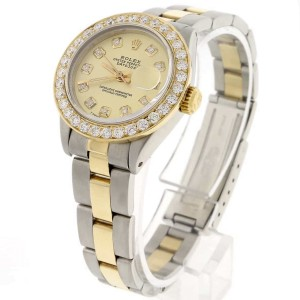 Rolex Datejust Ladies 2-Tone Gold/Steel 26MM Automatic Oyster Watch w/Champagne Diamond Dial & Bezel