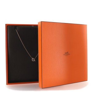 Hermes Finesse Pendant Necklace 18K Rose Gold and Diamonds