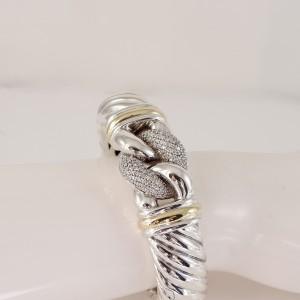 David Yurman Sterling Silver 18K Yellow Gold 1.10tcw 15mm Diamond Waverly Belmont Hinged Cuff Bracelet