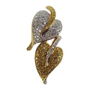 18K White & Yellow Gold 1.69ct. Diamond Hearts Pin Brooch