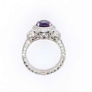 Jack Kelege LPR379 Platinum Amethyst, Diamonds Ring