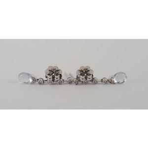 18K White Gold Briolette Aquamarine & Diamond Earrings