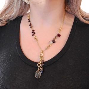 Gucci Gold Garnet Smokey Quartz Pendant Necklace
