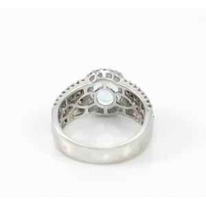 LeVian 14K White Gold Aquamarine, Chocolate & White Diamond Ring Size 7