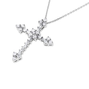 18k White Gold 1.75 Ct. Natural Round & Baguette Diamond Cross Pendant
