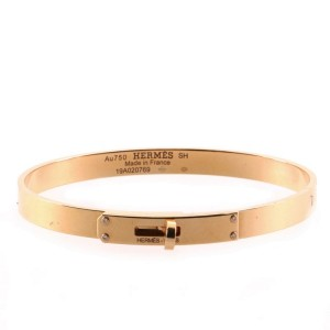 Hermes Kelly Bracelet 18K Rose Gold with 4 Diamonds Small