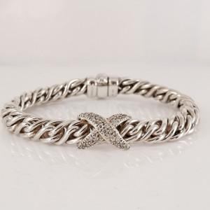 David Yurman Sterling Silver .80tcw Lyrica Pave Diamond X Wheat Chain Bracelet