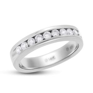 14K White Gold 1.20ct. Diamond Channel Set Wedding Ring Band Size 10