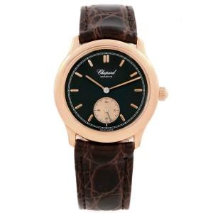 Chopard Classique Rose Gold Black Dial Brown Strap Mens Watch 16-1168