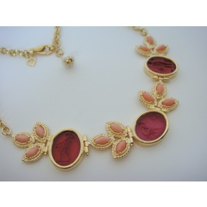 Tagliamonte Gold Plated Over Sterling Silver with Venetian Cameo and Coral Necklace