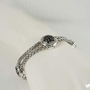 John Hardy Sterling Silver 2-Row Black Sapphire Kali Lava Fire Bracelet