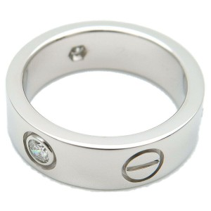 Cartier 3P Half Diamond 18k White Gold Love Ring