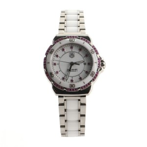 Tag Heuer Formula 1 Quartz Watch Stainless Steel and Ceramic with Pink Sapphire Bezel and Markers 32