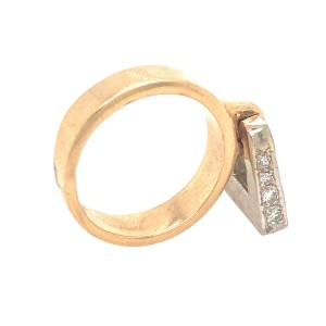 Antique 14k White and Yellow Gold Flip Top Diamond Ring