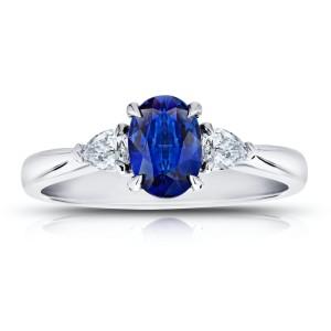 Platinum 1.08ct. Sapphire 0.26ctw. Diamond Ring Size 7