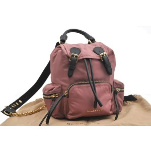 Burberrys Backpack Technical Nylon Leather Pink